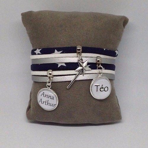 Bracelet personnalisable cabochon - prénom - message - étoiles - bleu marine - argenté et blanc