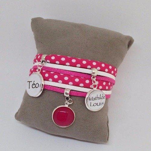 Bracelet cabochon personnalisable - prénom - tissus à pois - rose