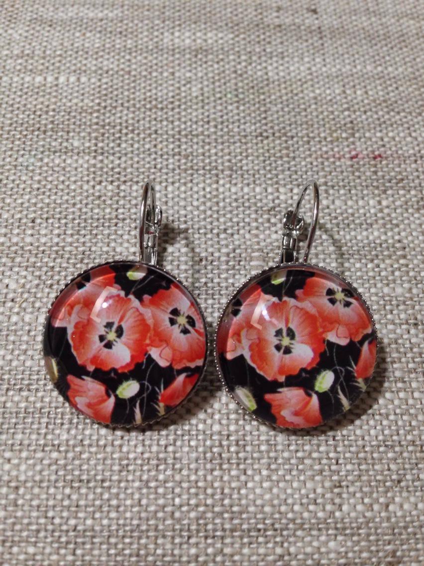 Boucles d'oreilles cabochon dormeuses - coquelicot - rouge & noir