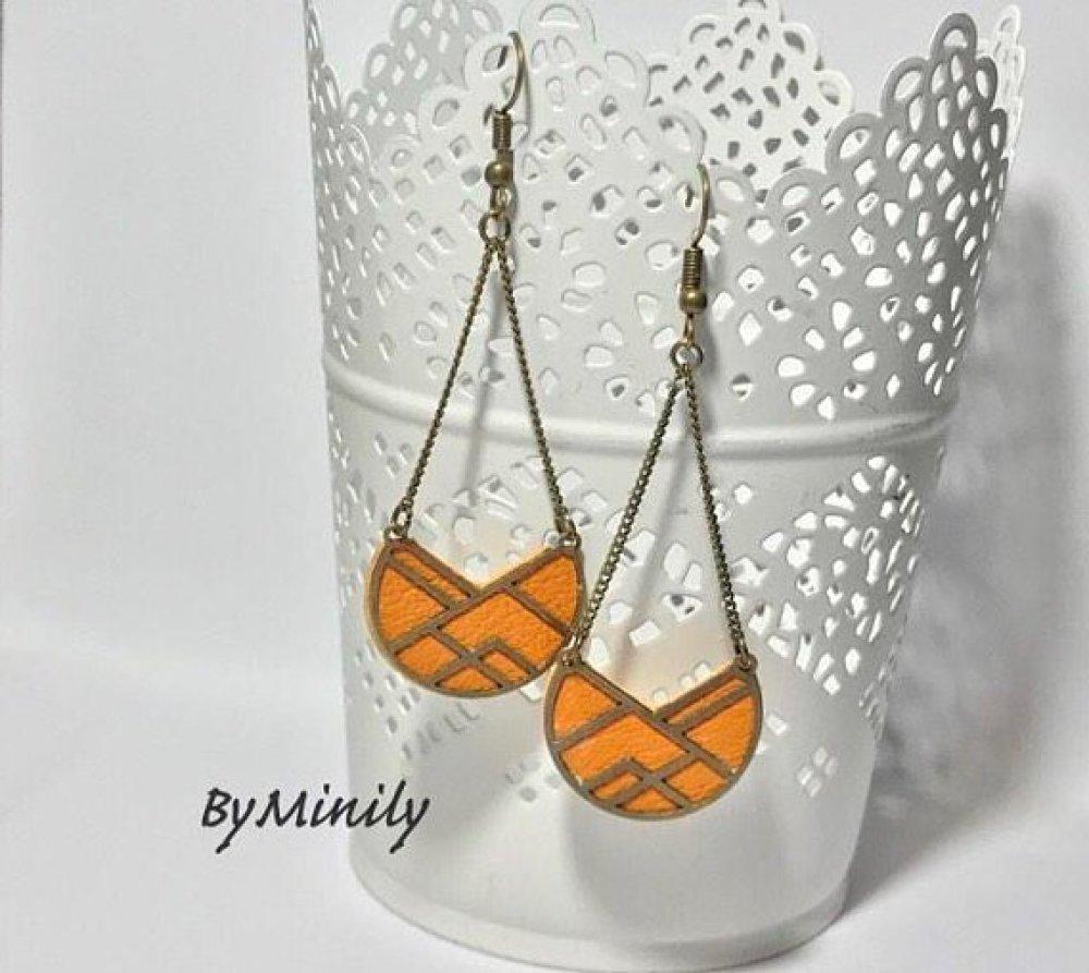 Boucles d'oreilles pendantes cuir - graphique - moderne - bijoux cuir - jaune moutarde