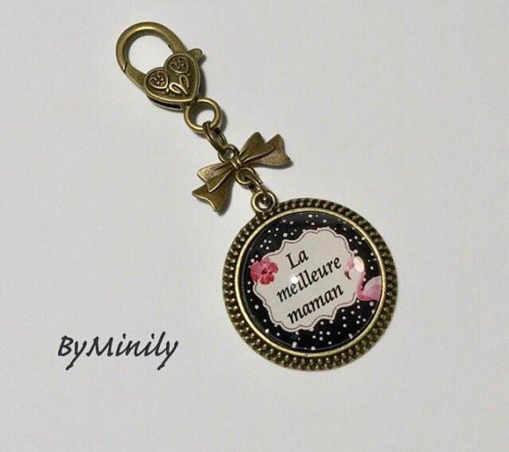 Bijoux de sac / porte-clés cabochon - la meilleure maman - flamand rose - tropical - noir et rose - fête des mères