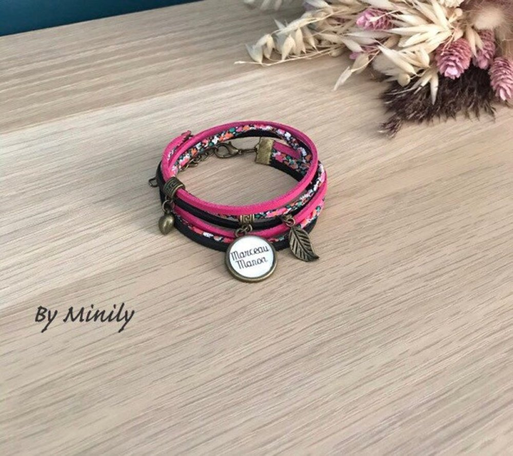Bracelet personnalisable liberty - prénom - idée cadeau - cadeau unique - rose et noir - cabochon