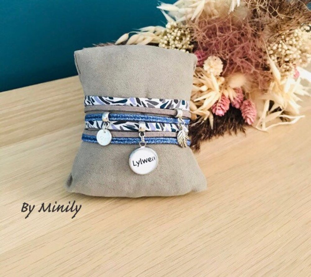Bracelet prénom liberty personnalisé - prénom - idée cadeau - cadeau unique - bleu
