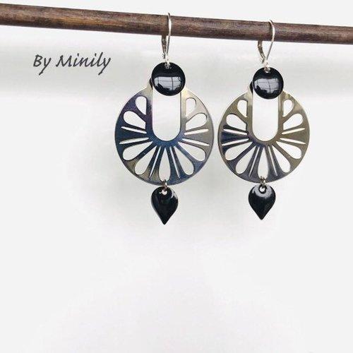 Boucles d'oreilles pendantes rondes argentées, sequin émaillé noir, idée cadeau, bijoux femme