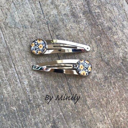 Barrettes clips cabochon, fleurs, jaune et noir, accessoire cheveux