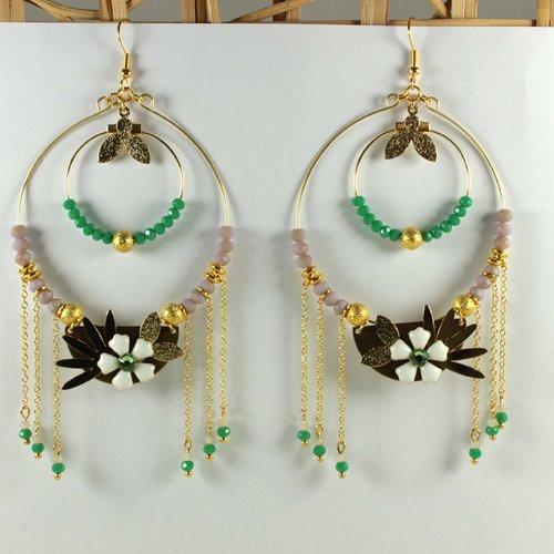 Grosses créoles, grandes boucles d'oreilles, perles en verre, nénuphar, fleur, doré, vert, rose, acier inoxydable, bynymphéa