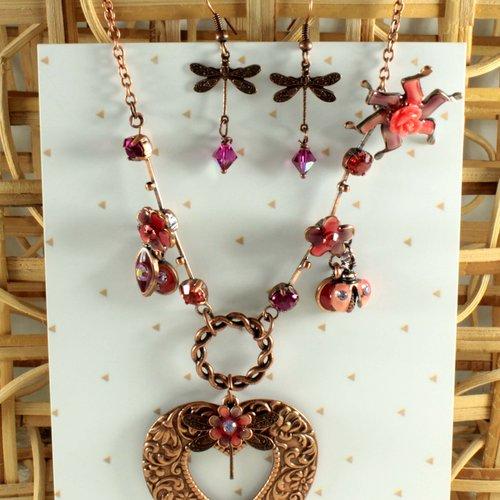 Parure collier et boucles cuivre, style vintage, coccinelle, libellule, fleur  perles cristal de swarovski, corail, violet, bynymphéa