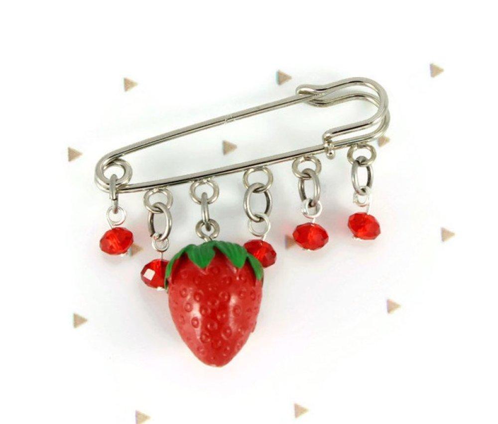 Broche épingle fraise, perles rouges en verre, broche breloques