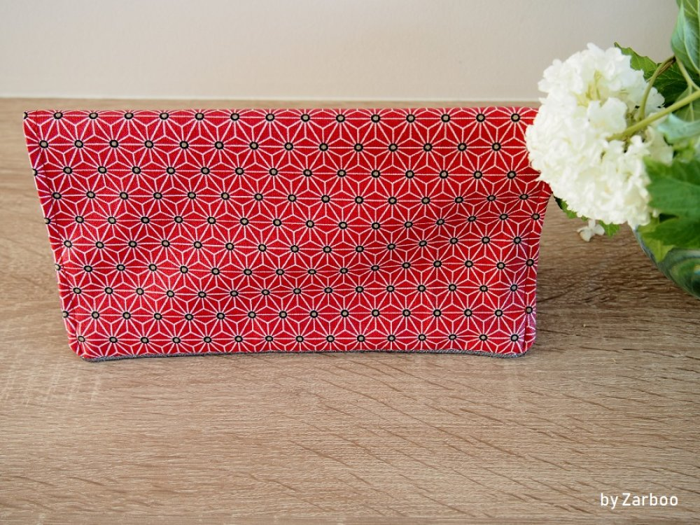 Porte chéquier, Protège chéquier rouge, motif asanoha