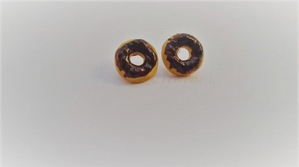 Boucles d'oreilles Donuts Glaçage Chocolat