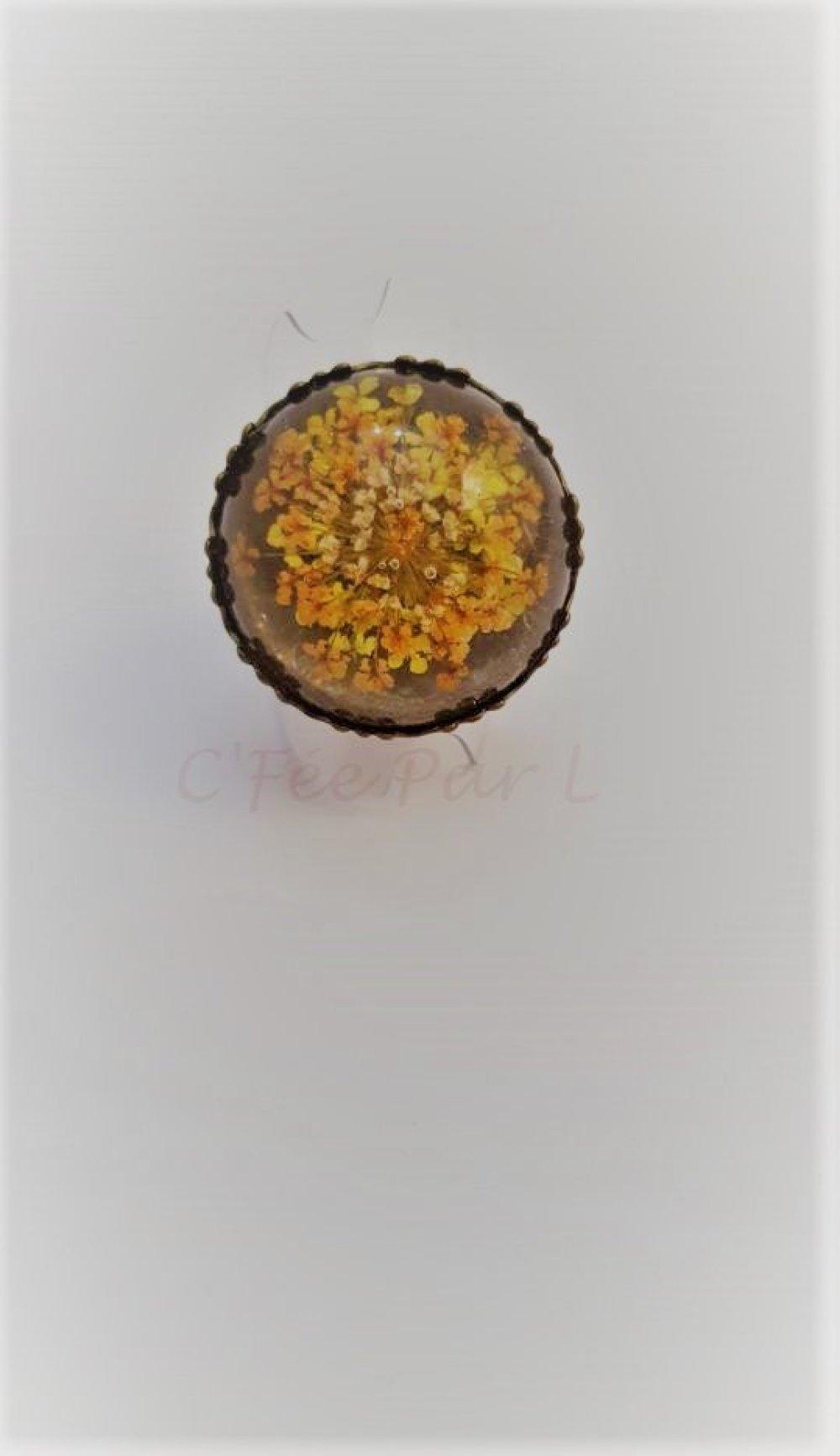 Bague Pétales Fleur Jaune/Orange