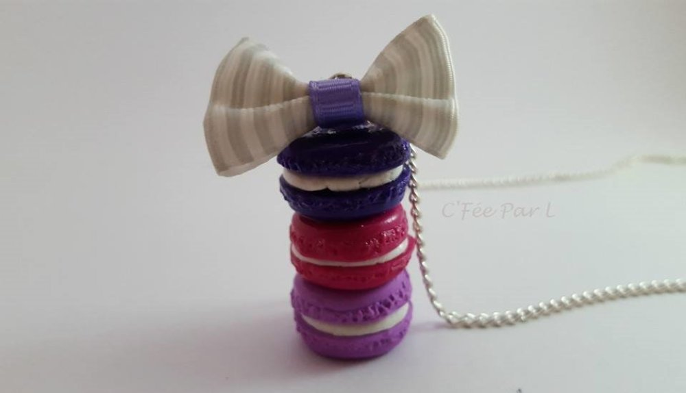 Collier 3 Macarons Dégradé Violet/Rose