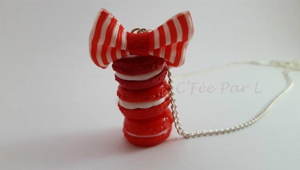 Collier 3 Macarons Dégradé Rouge