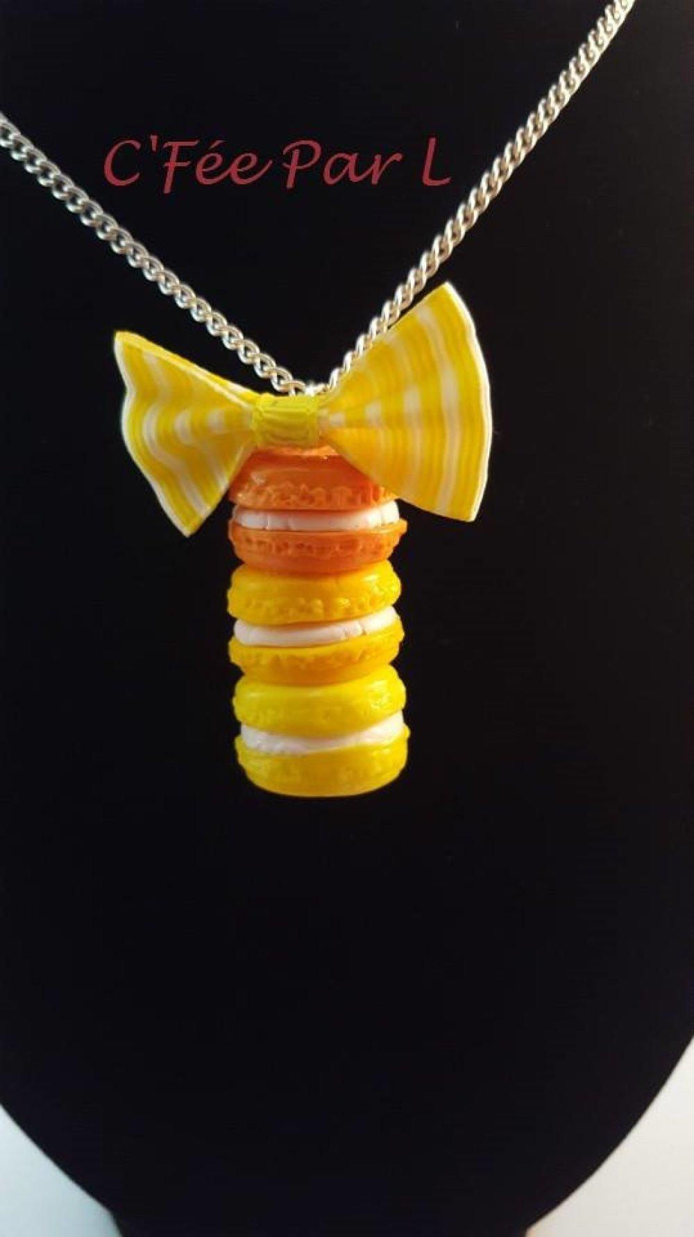 Collier 3 Macarons Dégradé Jaune/Orange