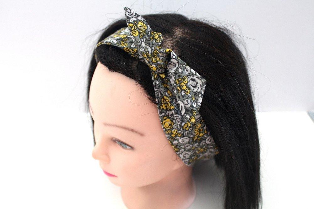 Bandeau rigide femme liberty jaune et gris