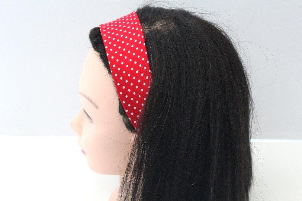 Bandeau cheveux fille à pois rouge et blanc
