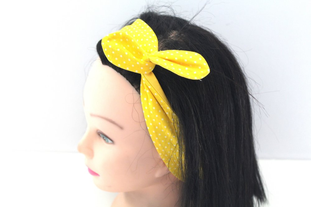 Bandeau rigide femme jaune à pois blancs