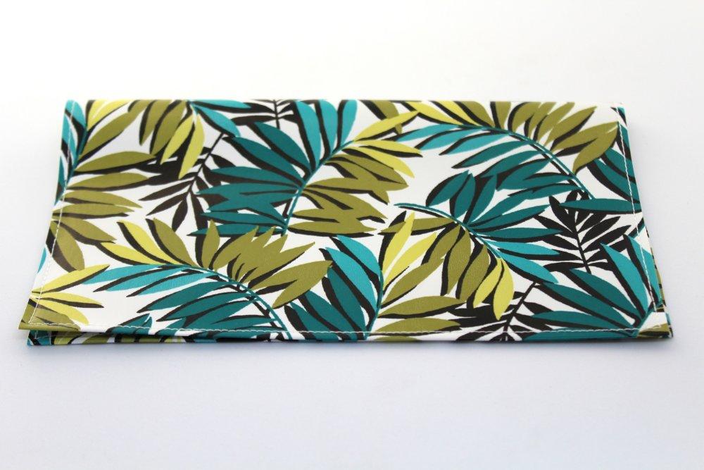 Porte chéquier femme tropical anis et turquoise