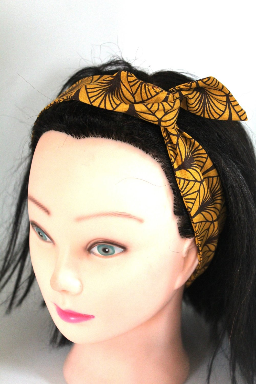 Bandeau rigide femme jaune moutarde et marron