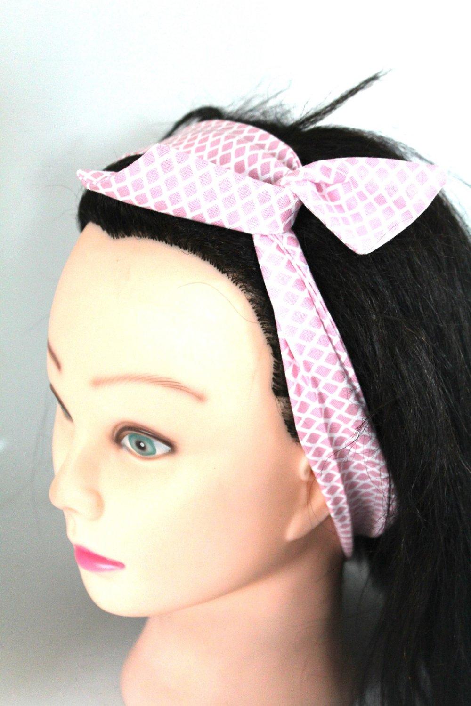Bandeau cheveux rigide court graphique rose poudré