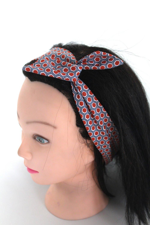 Bandeau cheveux rigide court rouge et blanc