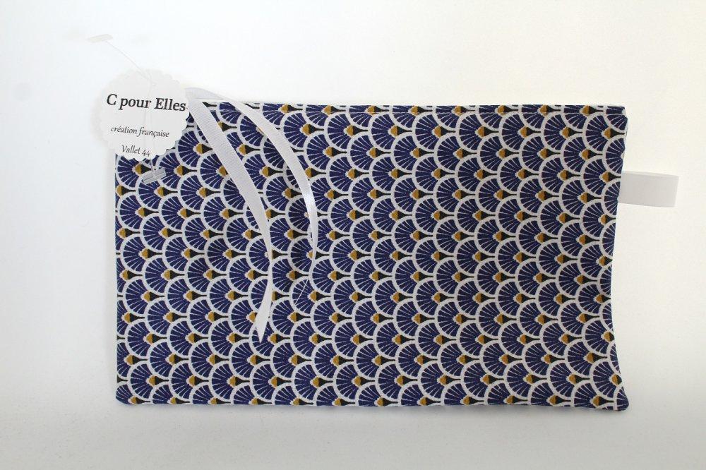 Pochette masque toile enduite éventails bleu
