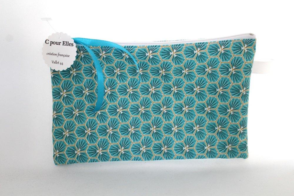 Pochette masque toile enduite turquoise