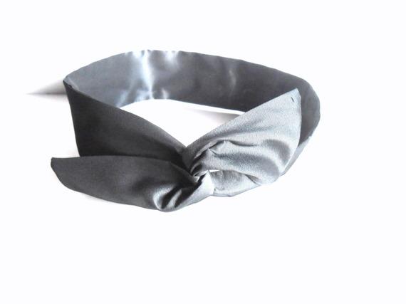 Bandeau cheveux femme rigide court  gris argent