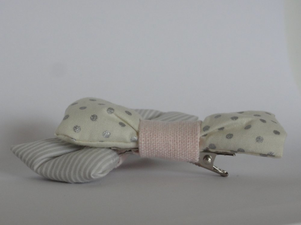 Barrettes noeud Pois & rayures