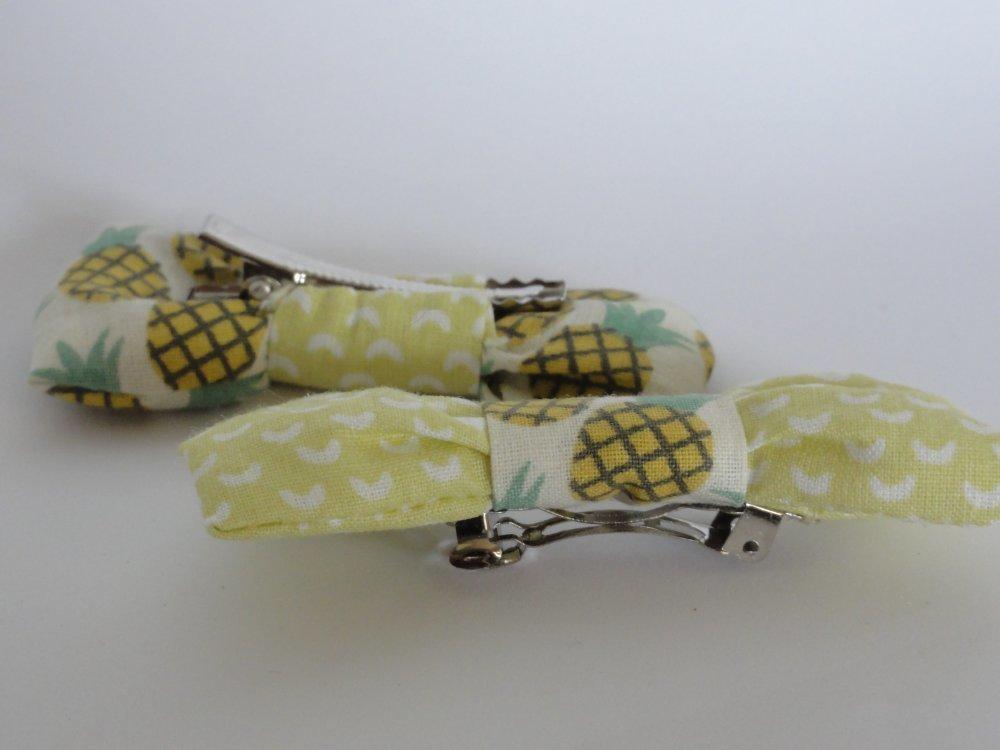 Barrettes noeud Ananas jaune