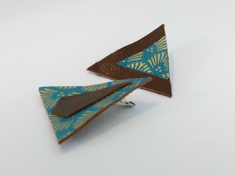 """Barrettes triangles """"art déco"""" cuir & papier japonais bleu canard"""