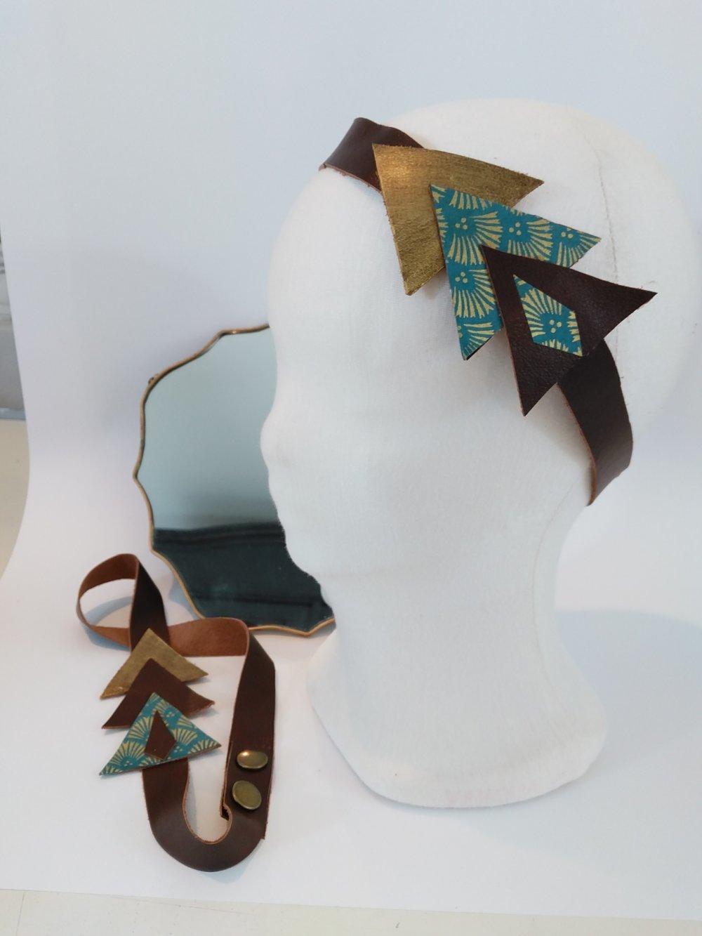 "Bandeau cuir ""art déco"" Trio1"