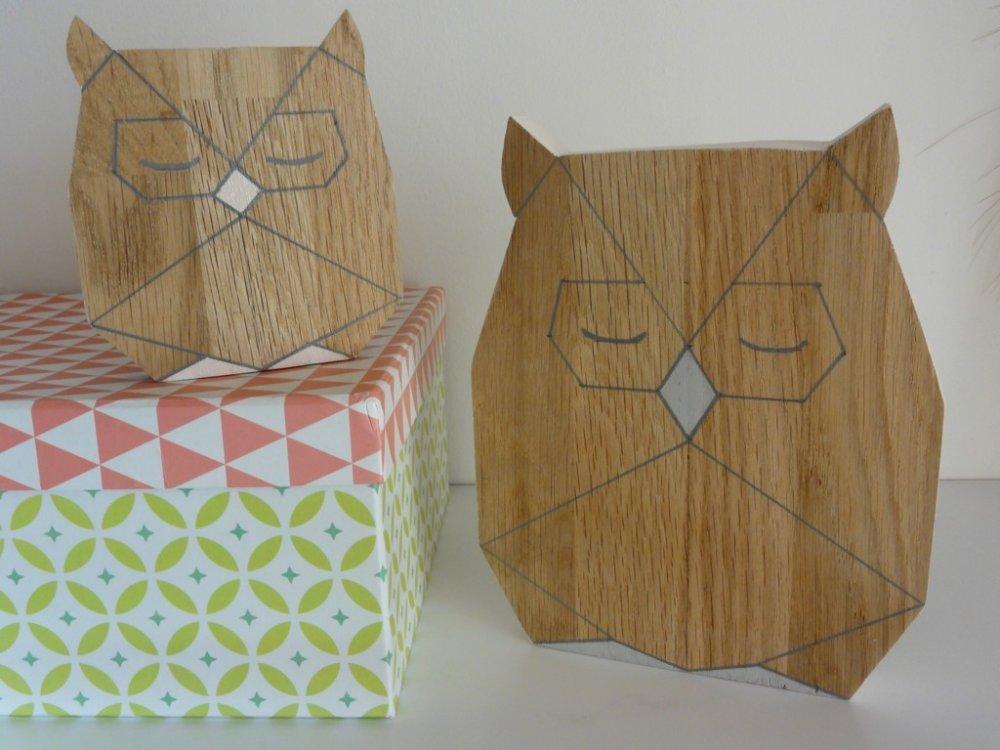 Chouettes en bois origami