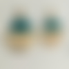 Boucles d'oreilles plaque or demi rond turquoise et rayons de soleil