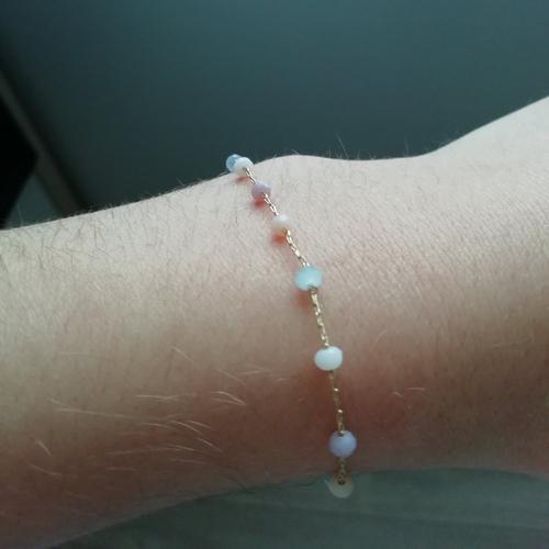 Bracelet plaque or avec perles