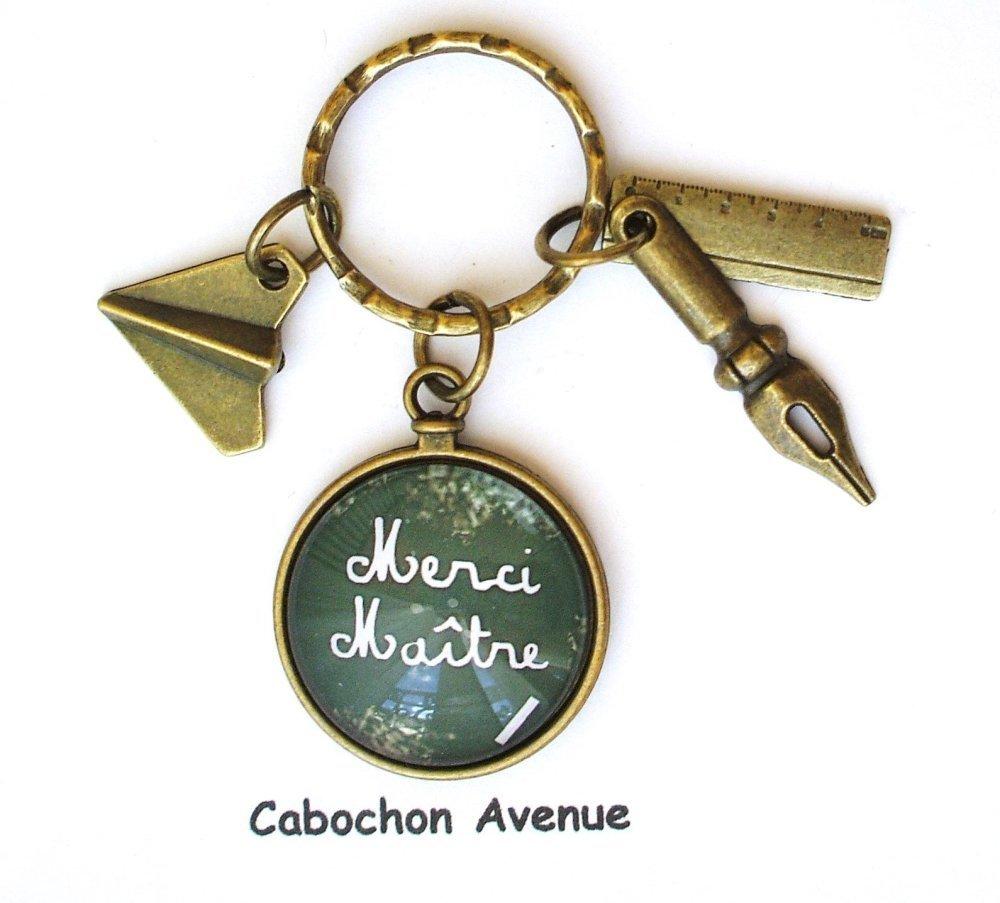 Porte-clés mousqueton MERCI MAITRE bijou accessoire fantaisie homme cabochon maître idée cadeau fin d'année cadeau maître bronze verre