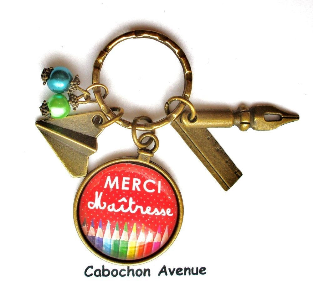 Bijou de sac MERCI MAITRESSE Bijou fantaisie cabochon maîtresse Idée cadeau fin d'année cadeau maîtresse école accessoire bronze verre