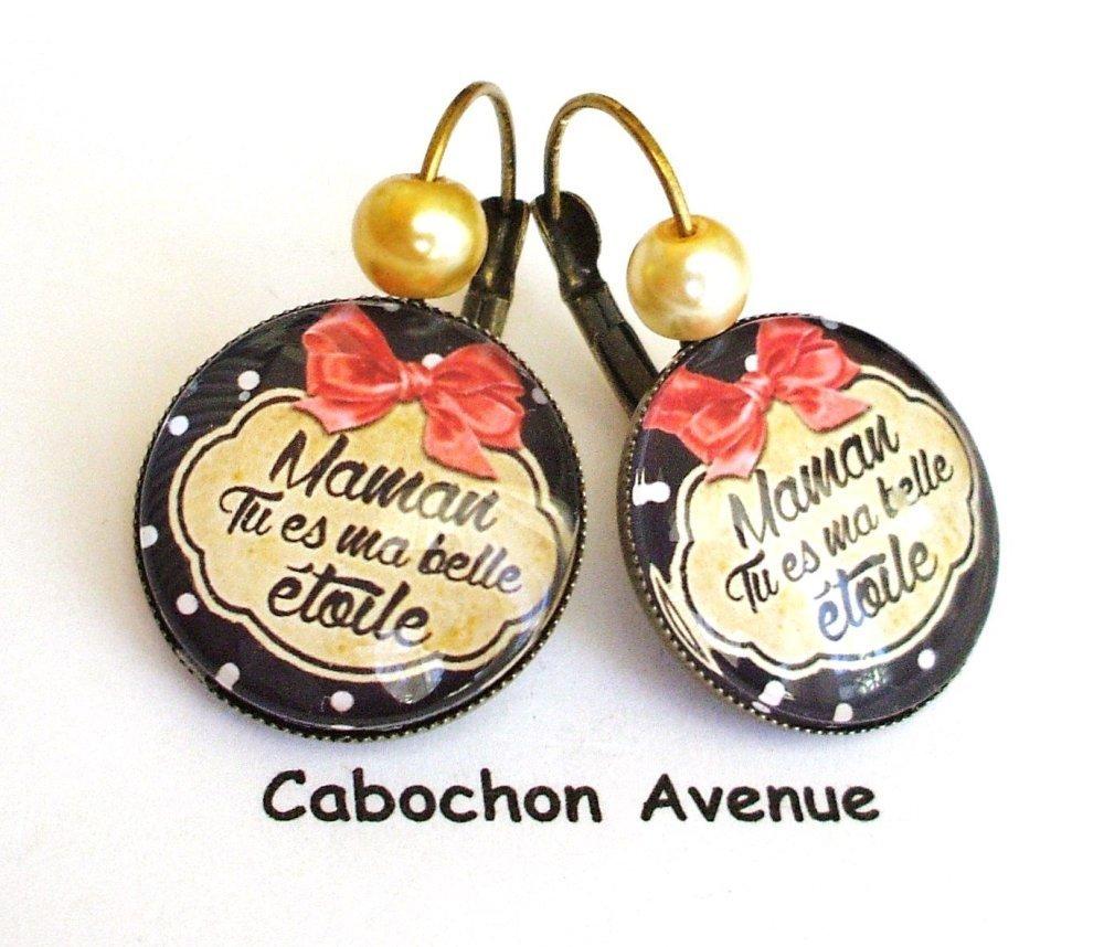 S.7.3 Bijou fantaisie maman ma belle étoile noeud pois porte-clés bronze cabochon verre idée cadeau maman fête des mères