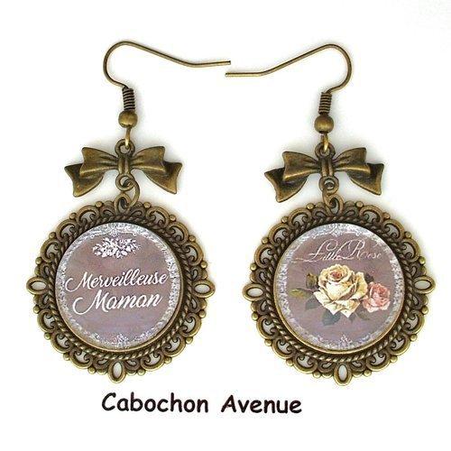 S7.250 bijou fantaisie merveilleuse maman rose shabby chic boucles d'oreilles filigrane bronze cabochon verre cadeau maman fête mère�