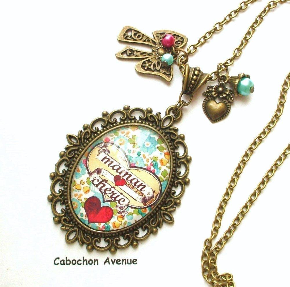 S.7.504 Bijou fantaisie maman chérie coeur fleurs liberty marque-pages bronze cabochon verre idée cadeau maman fête des mères