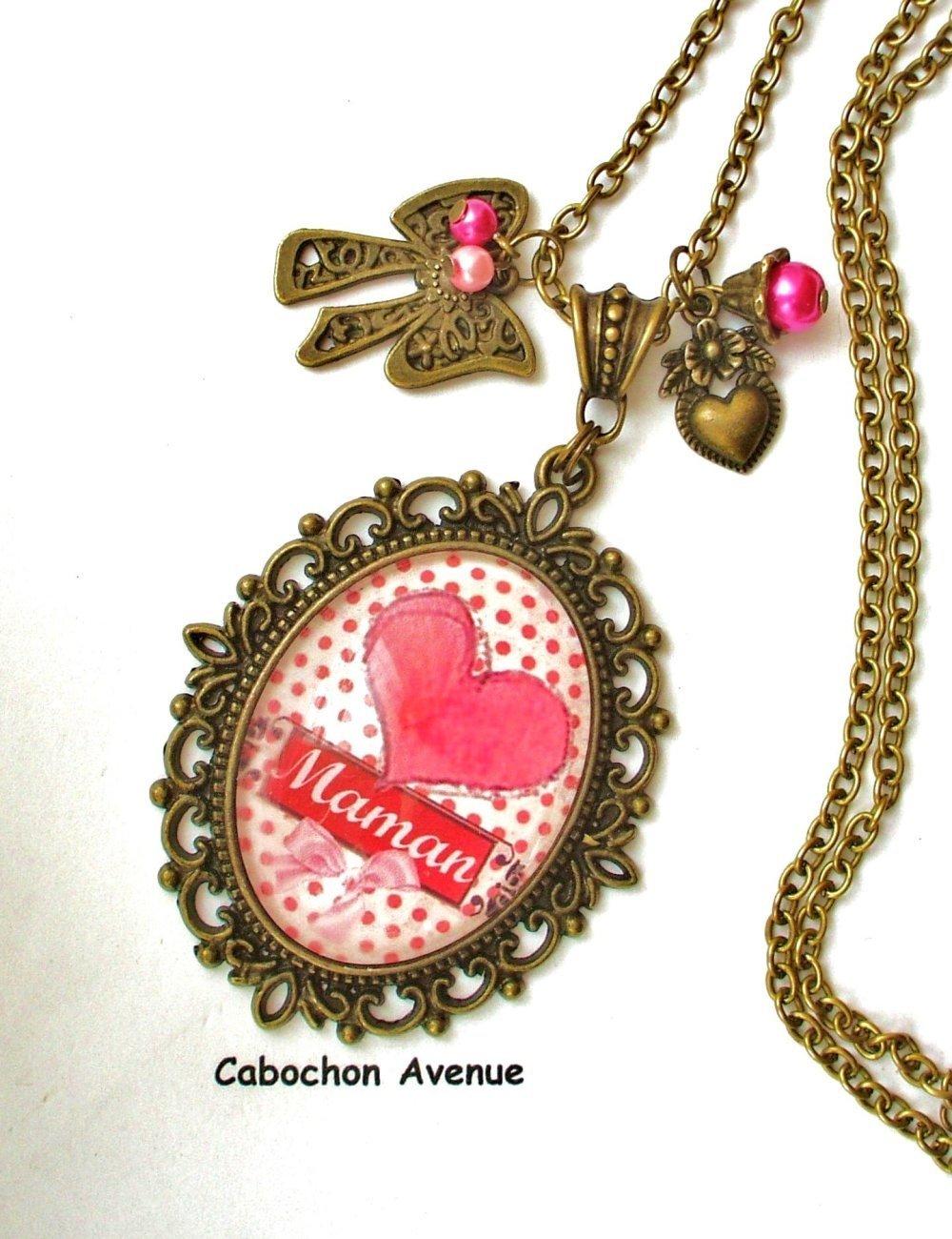 S.7.532 Bijou fantaisie j'aime maman amour coeur pois Boucles d'oreilles filigrane bronze cabochon verre cadeau maman fête des mères