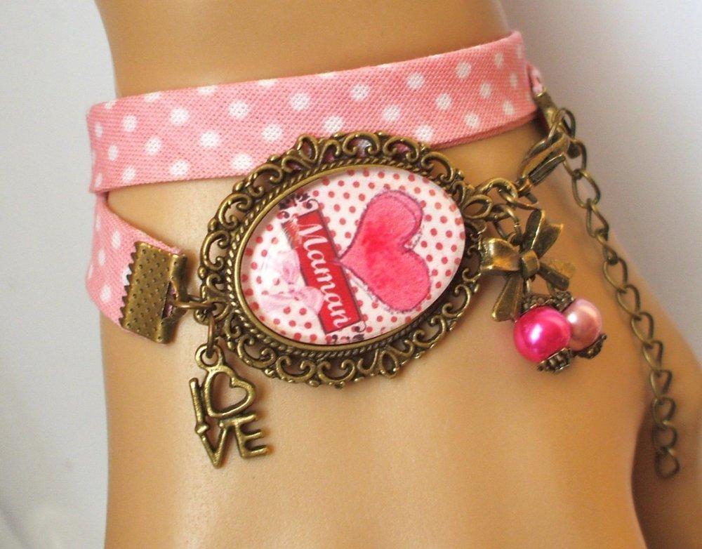 S.7.534 bijou fantaisie j'aime maman amour coeur pois collier pendentif filigrane bronze cabochon verre idée cadeau maman fête mères