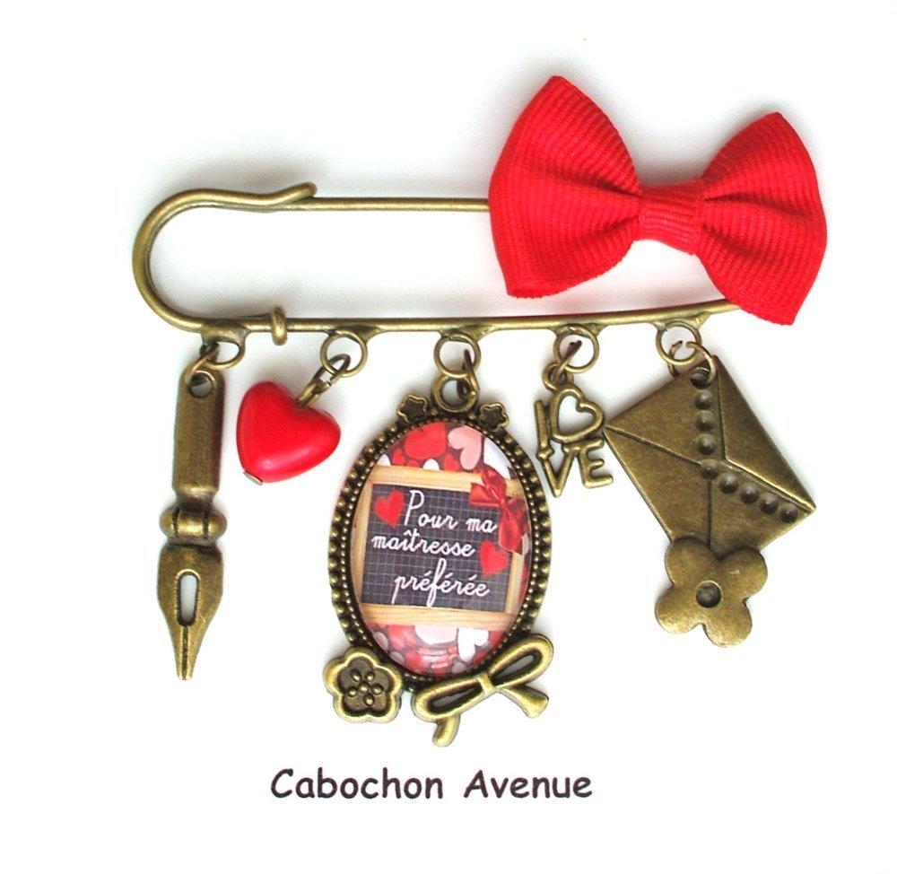 Porte-clés Maîtresse préférée Bijou fantaisie cabochon maîtresse cadeau fin d'année cadeau maîtresse école accessoire bronze verre