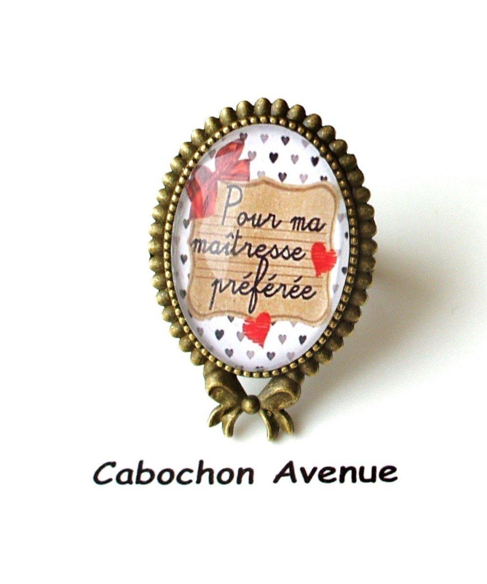 Bijou de sac Maîtresse préférée Bijou fantaisie cabochon maîtresse Idée cadeau fin d'année cadeau maîtresse accessoire bronze verre