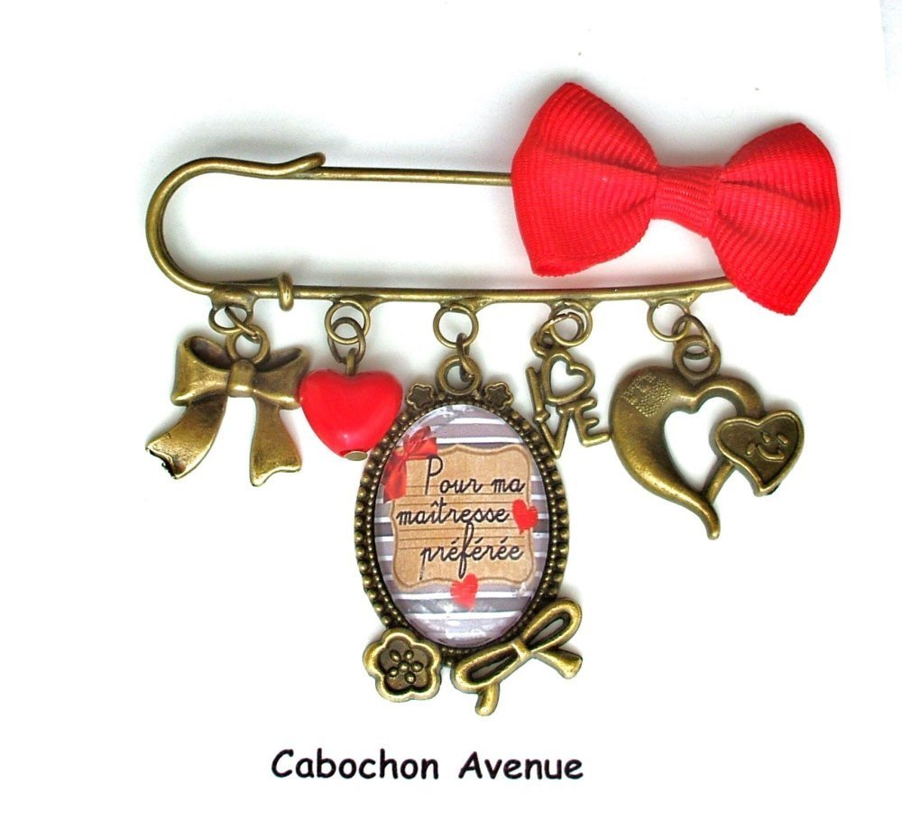 Bague réglable ajustable Maîtresse préférée Bijou fantaisie cabochon maîtresse cadeau fin d'année cadeau maîtresse bronze verre