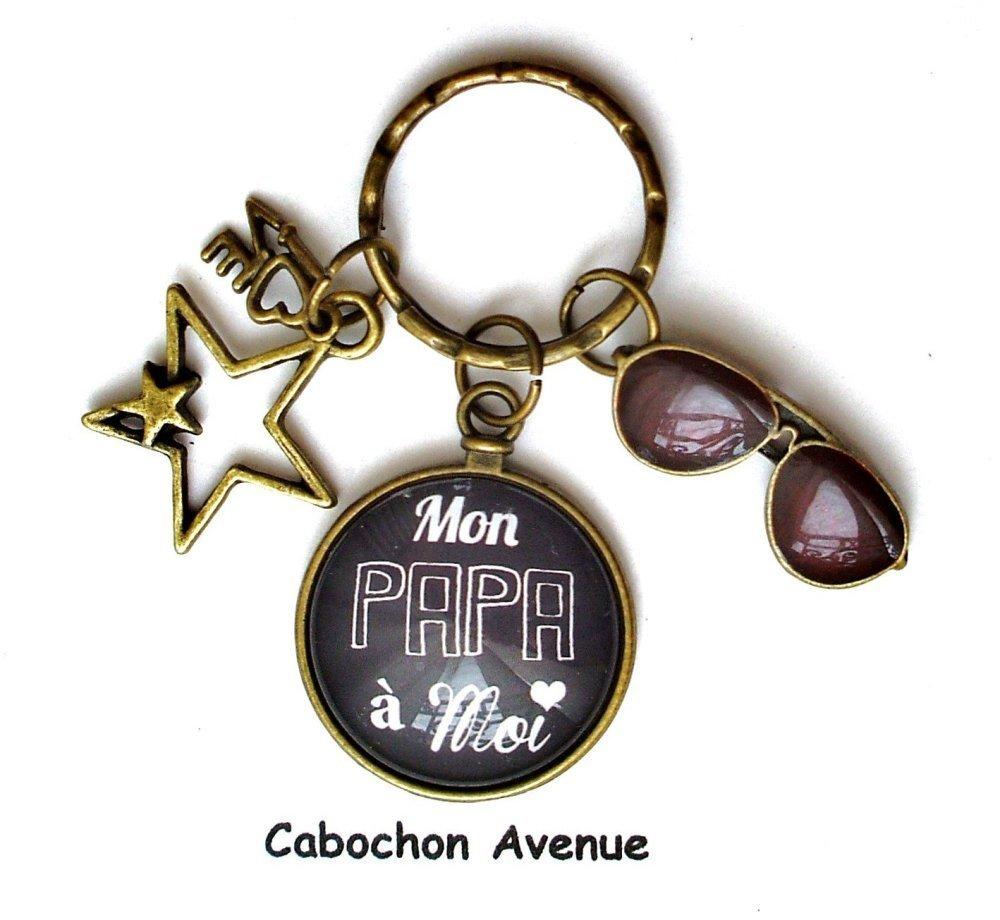 bijou accessoire homme mon PAPA à moi coeur Boutons de manchette métal argenté cabochon verre idée cadeau fête des pères cadeau PAPA