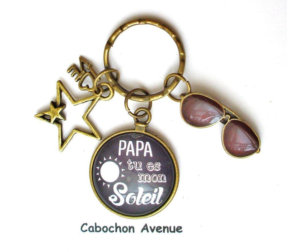 bijou accessoire homme PAPA tu es mon soleil Boutons de manchette métal argenté cabochon verre idée cadeau fête des pères cadeau PAPA