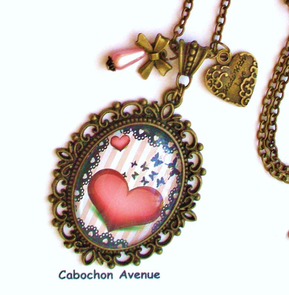 Bijou fantaisie SAINT-VALENTIN Love amour chérie coeur bague filigrane ajustable bronze cabochon verre cadeau SAINT-VALENTIN fête amoureux