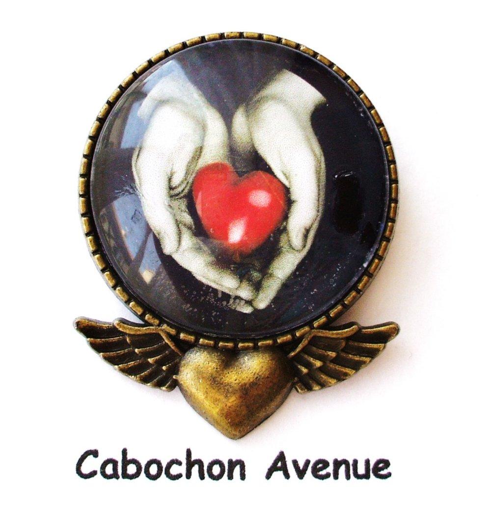 Bijou fantaisie SAINT-VALENTIN Love amour chérie coeur broche pendentif bronze cabochon verre idée cadeau SAINT-VALENTIN fête amoureux