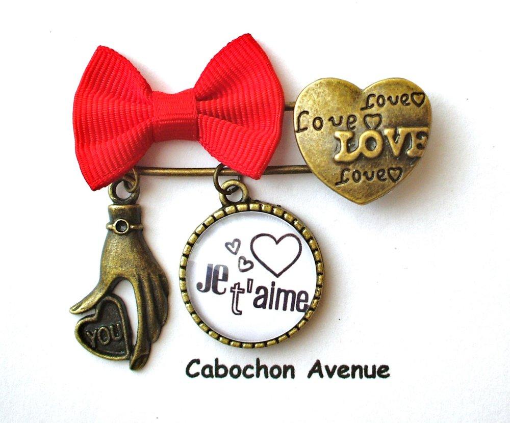 Bijou fantaisie SAINT-VALENTIN Love amour chérie coeur bague réglable ajustable bronze cabochon verre cadeau SAINT-VALENTIN fête amoureux